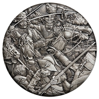 2018 Tuvalu $2 Warfare - Hussars 2oz. Antiqued High Relief Silver (No Tax)