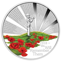 2018 Australia $1 ANZAC Spirit - We Will Remember Them 1oz. Silver Proof (No Tax)