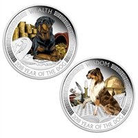 2018 Tuvalu $1 Lunar Wealth & Wisdom Silver Proof 2-coin Set (No Tax)