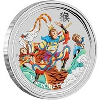 2016 Australia Monkey King Coloured 1oz. Fine Silver (No Tax)