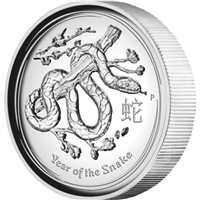 2013 Australia $1 1oz High Relief Coin - Year of the Snake (TAX Exempt) Worn Sleeve