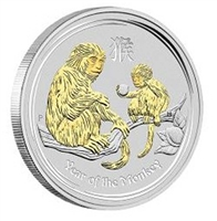 2016 Australia $1 Year of the Monkey Gilded Proof Silver (No Tax)