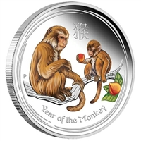 2016 Australia 50-cent Year of the Monkey Coloured Silver (No Tax)