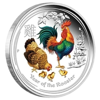 2017 Australia $1 Year of the Rooster Coloured 1oz. Silver (No Tax)