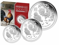 2017 Australia Year of the Rooster Silver Proof 3-Coin Set (No Tax)