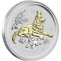 2018 Australia $1 Year of the Dog 1oz. Gilded Silver (No Tax)