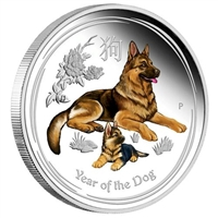 2018 Australia $1 Year of the Dog Coloured 1oz Silver (No Tax)