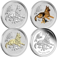 2018 Australia Year of the Dog 1oz Silver 4-coin Typeset Collection (No Tax)