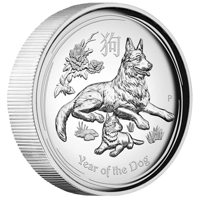 2018 Australia $1 Year of the Dog 1oz. High Relief Silver (No Tax)