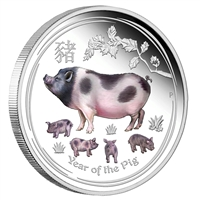 2019 Australia $1 Lunar Year of the Pig 1oz. Coloured Silver (No Tax)