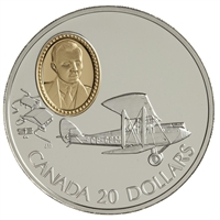 1992 Canada $20 Aviation - de Havilland Gipsy Moth Sterling Silver