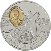 RDC 1995 Canada $20 Aviation - DHC-1 Chipmunk Sterling Silver Coin (Wrong Capsule)