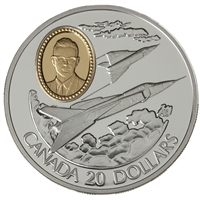 RDC 1996 Canada $20 Aviation - Avro Arrow CF-105 Sterling Silver (Impaired)