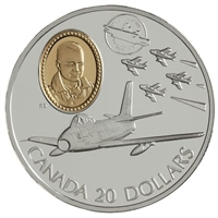 1997 Canada $20 Aviation - Canadair F-86 Sabre - The Golden Hawks Sterling Silver
