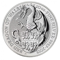 2018 GB 10 Pounds Queen's Beasts - Red Dragon of Wales 10oz. Silver (No Tax)