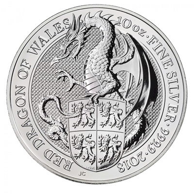 2018 GB 10-Pounds Queen's Beasts - Red Dragon 10oz Silver (No Tax) Scuffed Capsule