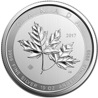 2017 Canada $50 Magnificent Maple Leaves 10oz. Fine Silver (No Tax)