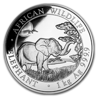 2019 Somalia 2000 Shillings Elephant .999 Silver Kilo (No Tax)