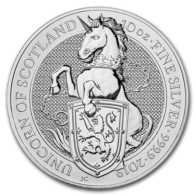 2019 Great Britain 10 Pounds Queen's Beasts - The Unicorn 10oz. Silver (No Tax)