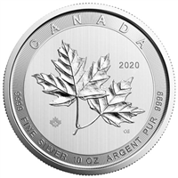 2020 Canada $50 Magnificent Maple Leaves 10oz. Fine Silver (No Tax)