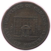 PC-1B6 1844 Province of Canada Half Penny Bank Token, VG-F (VG-10)