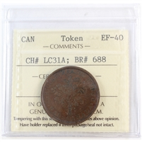 LC-31A Lower Canada Un Sou Bank Token ICCS Certified EF-40 (BR #688)