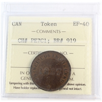 PE-7C1 1857 PEI Self Government & Free Trade Bank Token ICCS Certified EF-40 (BR #919)