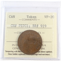 PE-7C1 1857 PEI Self Government & Free Trade Bank Token ICCS Certified VF-20 (BR #919)