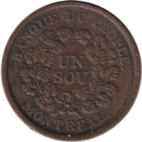 LC-5A3 No Date (1838) Lower Canada, Banque du Peuple Montreal Un Sou Very Fine (VF-20)