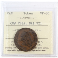 PE-8A (1858) Fisheries & Agriculture Halfpenny Token ICCS Certified VF-30 (BR #921)