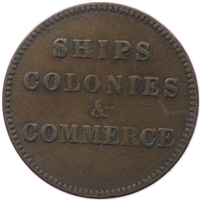 PE-10-30 No Date (1835) PEI Ships Colonies & Commerce Bank Token, Very Fine (VF-20)