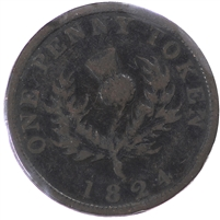NS-2A4 1824 Nova Scotia Thistle Penny Bank Token, Fine (F-12) $