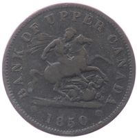 PC-6A1 1850 Province of Canada Penny Bank Token, Fine (F-12)