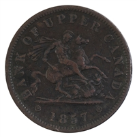 PC-6D 1857 Province of Canada Penny Bank Token, VF-EF (VF-30)