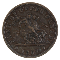 PC-6D 1857 Province of Canada Penny Bank Token, Extra Fine (EF-40)