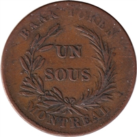 LC-2A3 No Date (1835) Lower Canada Un Sou, Trade & Agriculture Bank Token, VF-EF (VF-30)