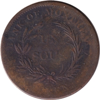 LC-3A2 No Date (1835) Lower Canada Un Sou, Trade & Agriculture, Bank Token, G-VG (G-6)