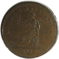 NS-20B3 1814 Nova Scotia Trade & Navigation Penny Token EF-AU (EF-45)