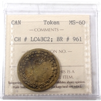 LC-48C2 1812 Lower Canada Clockwise, Brass Token ICCS Certified MS-60 BR# 961