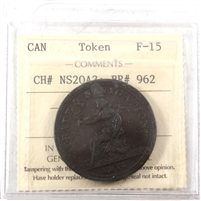 NS-20A3 1813 Nova Scotia Trade & Navigation Penny Token ICCS Certified F-15 BR# 962