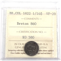 BR-860 1822 British Colonies 1/16 Dollar ICCS Certified VF-20