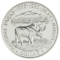 1985 Canada National Parks Centennial Brilliant Uncirculated Dollar (lightly toned)