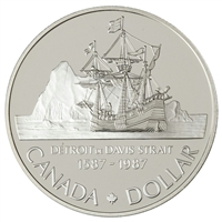 1987 Canada John Davis Strait Brilliant Uncirculated Dollar (lightly toned)