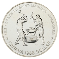 1988 Canada Saint-Maurice Ironworks Brilliant Uncirculated Dollar (lightly toned)
