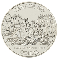 1989 Canada Mackenzie River Bicentennial Brilliant Uncirculated Dollar (lightly toned)