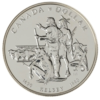 1990 Canada Henry Kelsey Tricentennial Brilliant Uncirculated .50 Silver Dollar (lightly toned)
