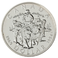 1994 Canada RCMP Dog Team Patrol Brilliant Uncirculated Sterling Silver Dollar (lightly toned)
