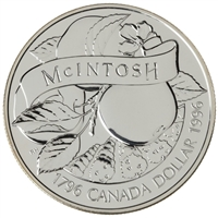 1996 Canada John McIntosh Brilliant Uncirculated Sterling Silver Dollar (outer cardboard holder a bit scuffed)