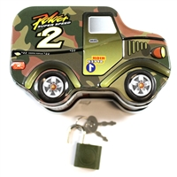 Money Bank: Army Truck with lock and key
