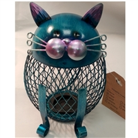 Money Bank: Teal Cat w/bonus Large Cent
